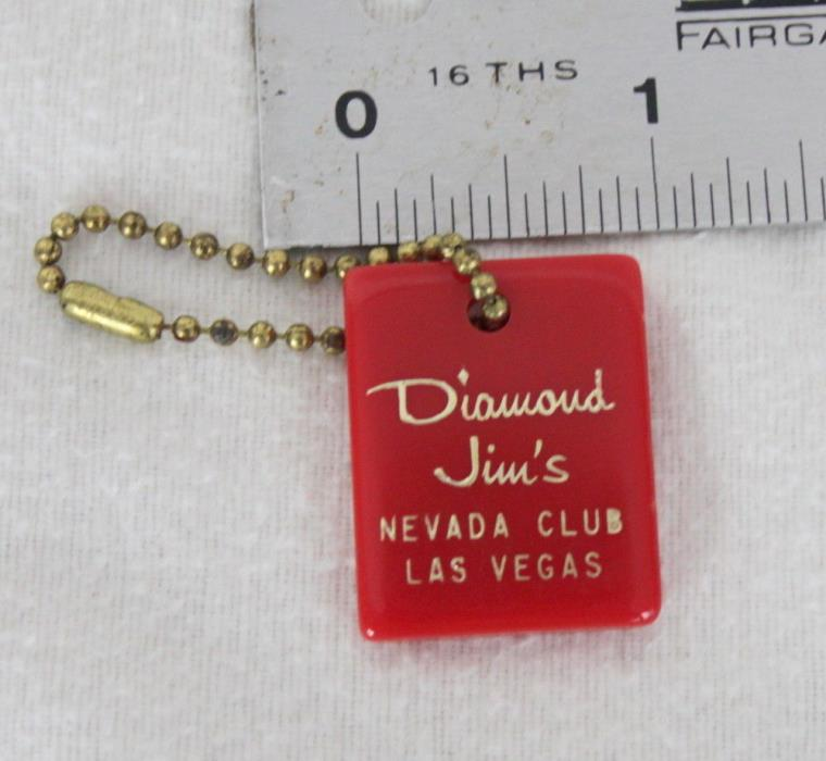 RARE vintage Diamond Jims Nevada Club Las Vegas Fob Collectible Red Plastic