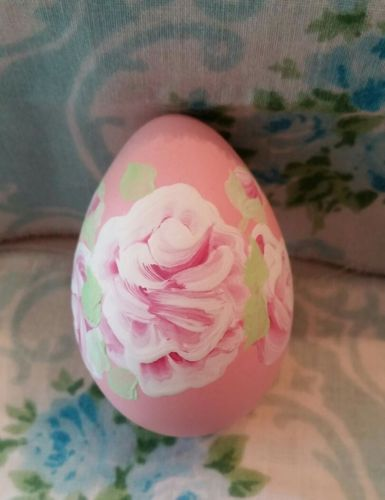 Pink Hand Painted Easter egg Roses Hp Victorian cottage shabby chic