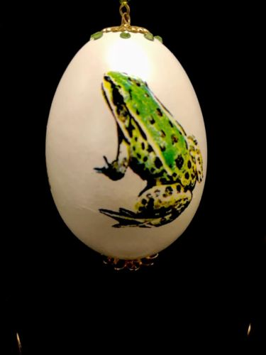 100% HANDMADE COLLECTIBLE REAL EGG EASTER EGG WITH FROG PAINTING