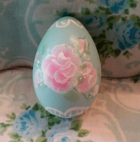 Lt blue Hand Painted Easter egg Pink  Roses Hp Victorian shabby cottage chic