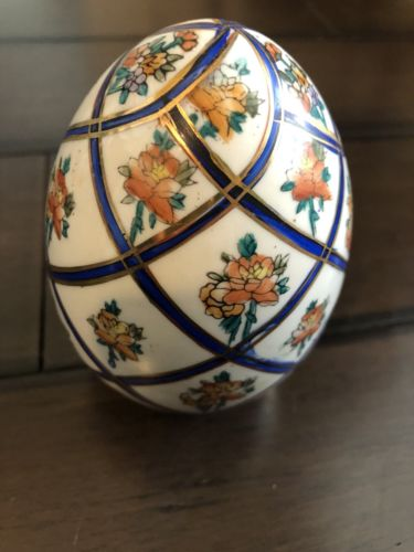 Blue And Gold Floral Display Decorative Egg