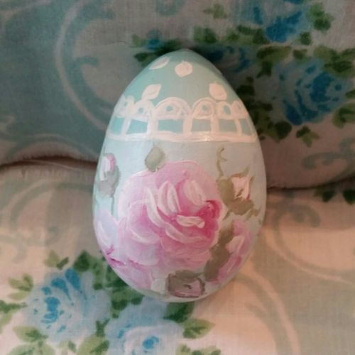 Lt blue Hand Painted Easter egg gourd Roses Hp Victorian shabby cottage chic