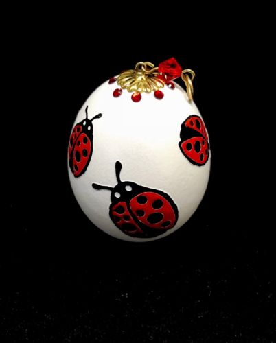 100% HANDMADE COLLECTIBLE REAL EGG EASTER EGG WITH LADYBUG PAINTING