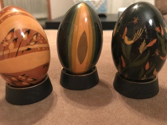 Hand Painted Wooden Eggs Lot of 3 with stands