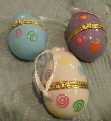 3 Porcelain Egg Lidded BRIGHT Hinged Trinket Jewelry/Gold TRIM - EGG SIZE