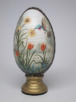 Vintage Handpainted Egg Hummingbird Flowers Tulips SPring Purple Wood