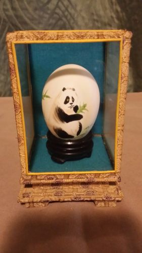 Vintage Chinese Hand Painted Panda on Egg, signed