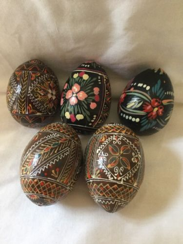 Vtg Russian Hand Painted Wood Egg Lot (5) Easter Intricate Design