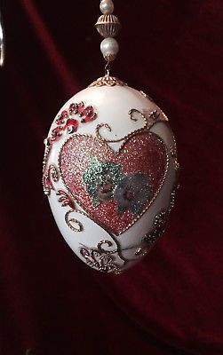 A LOVELY HANGING DECORATED GOOSE EGG ORNAMENT. HEART. A GREAT VALENTINE GIFT
