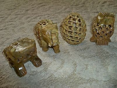 Lot of 4 Hand Carved Soapstone Carvings-Made in India