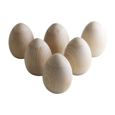 6 Wooden Easter Eggs - 2-1/2