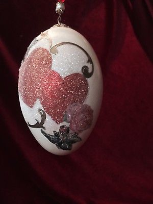 A LOVELY HANGING DECORATED GOOSE EGG ORNAMENT. HEARTS. GREAT AS VALENTINE GIFT.