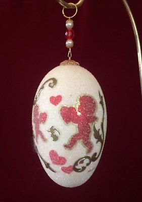 A LOVELY HANGING DECORATED GOOSE EGG ORNAMENT.  GREAT AS VALENTINE GIFT.