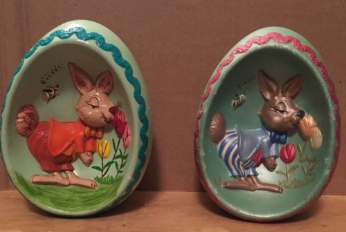2 Ceramic Easter Egg 3D Bunny