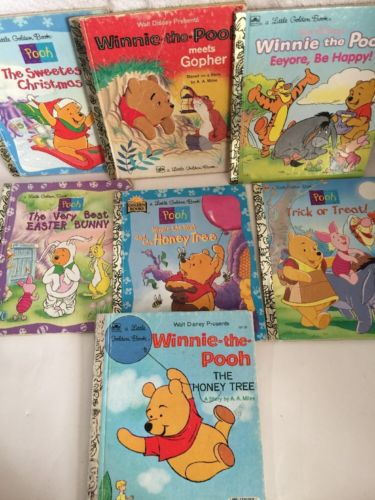 Vintage Disney Little Golden Books Lot of 7 Winnie the Pooh A.A. Milne