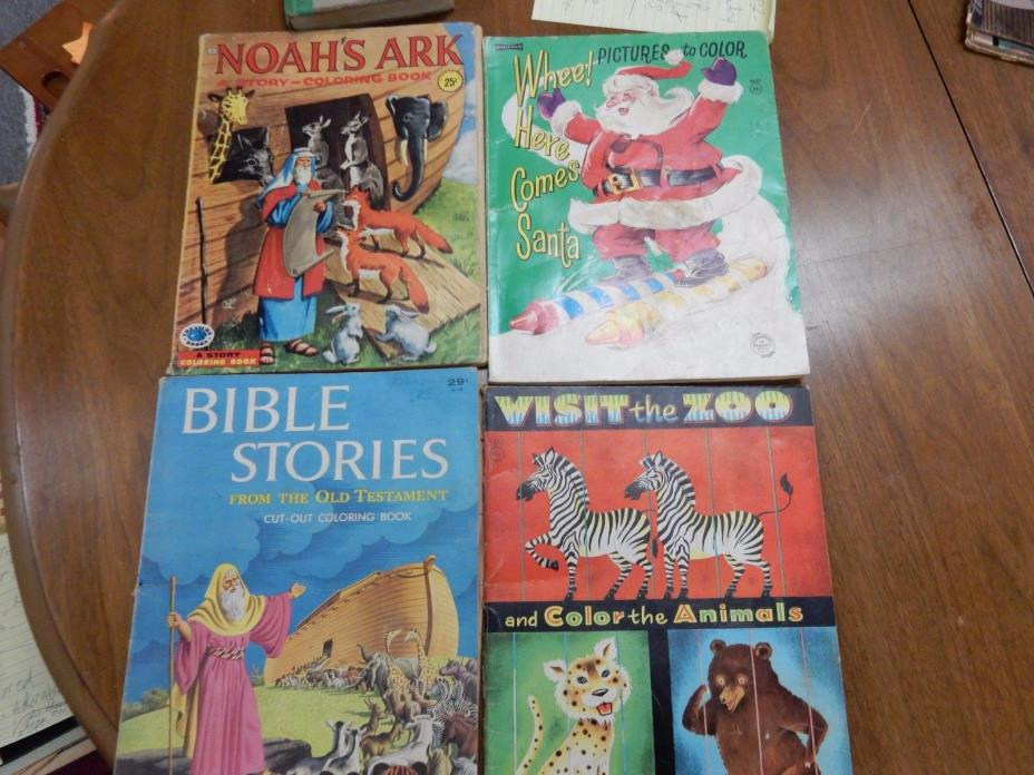 Vintage Lot of 4 Coloring Books antique coloring books