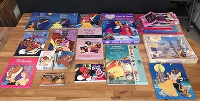 BIG DISNEY BEAUTY & THE BEAST LOT ~ BOOKS + STICKERS + CARDS + PAPER +++ NEW!