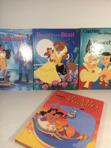Lot Of 4 Vintage Disney Hardcover Books ALADDIN BEAUTY AND THE BEAST