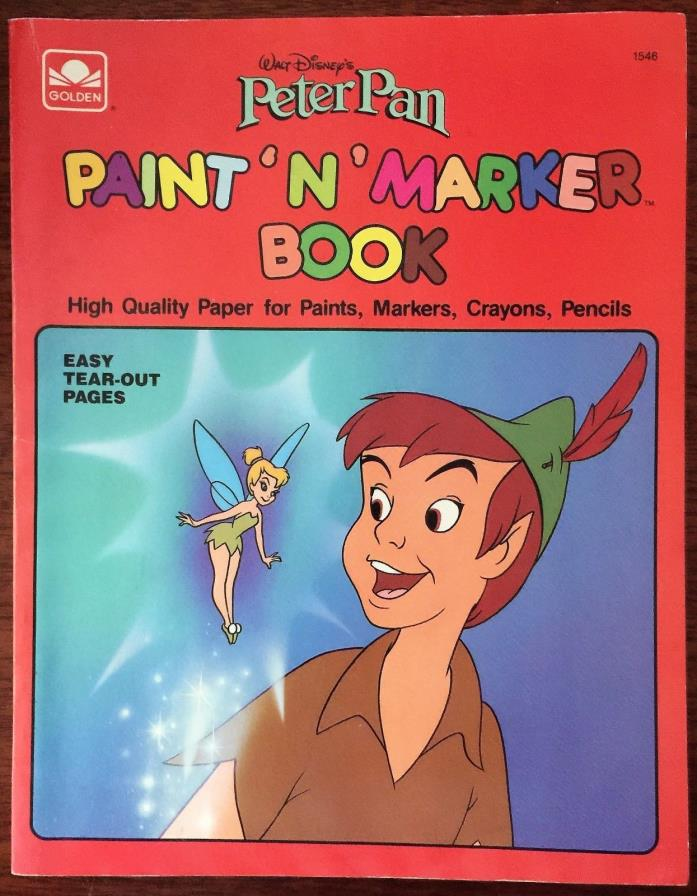 Unused ~ Vintage 1989 Walt Disney's Peter Pan ~ Paint 'N' Marker Book ~ Unused