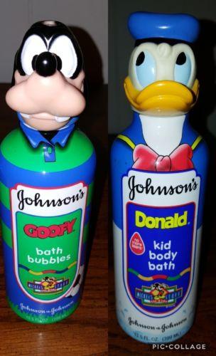 DISNEY Goofy and Donald Duck Johnson & Johnson Bubble Bath Body Wash Bottles