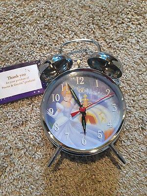 New Disney Cinderella Princess Alarm Clock ringer style  silver tone