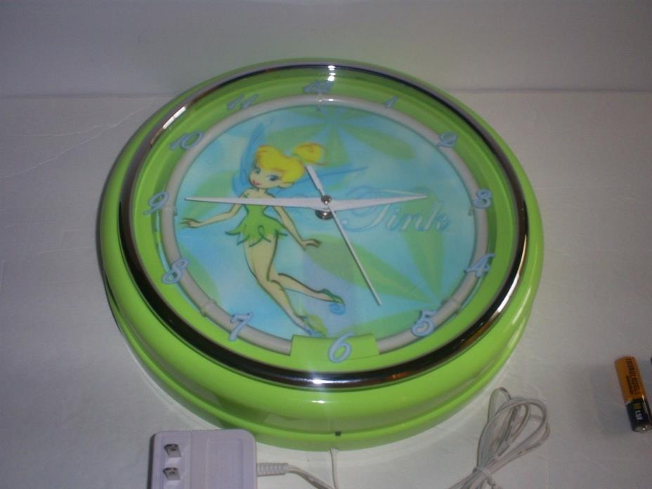 USED DISNEY TINKER BELL NEON GREEN LIGHT UP WALL CLOCK