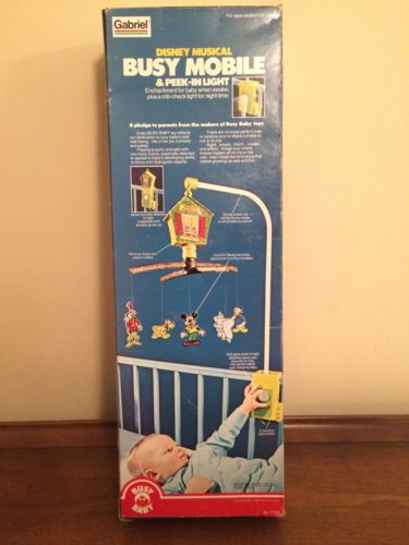 Vintage Disney Baby Mobile 1977 New in Box New Old Stock Musical Gabriel