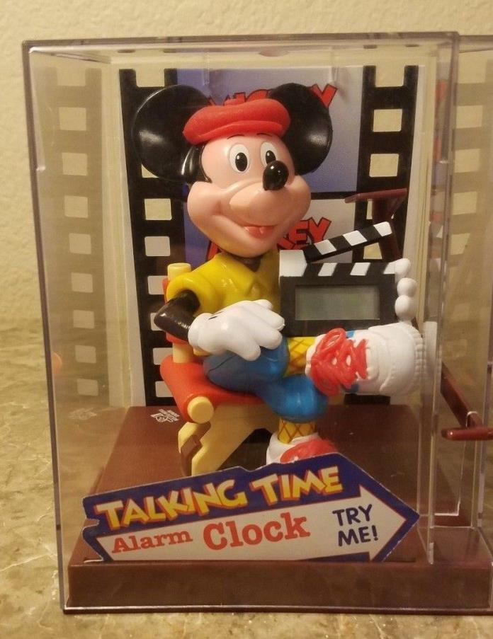 Collectible *RARE* 1991 MICKEY MOUSE DIRECTOR CLOCK W/ TALKING ANIMATED MOUTH