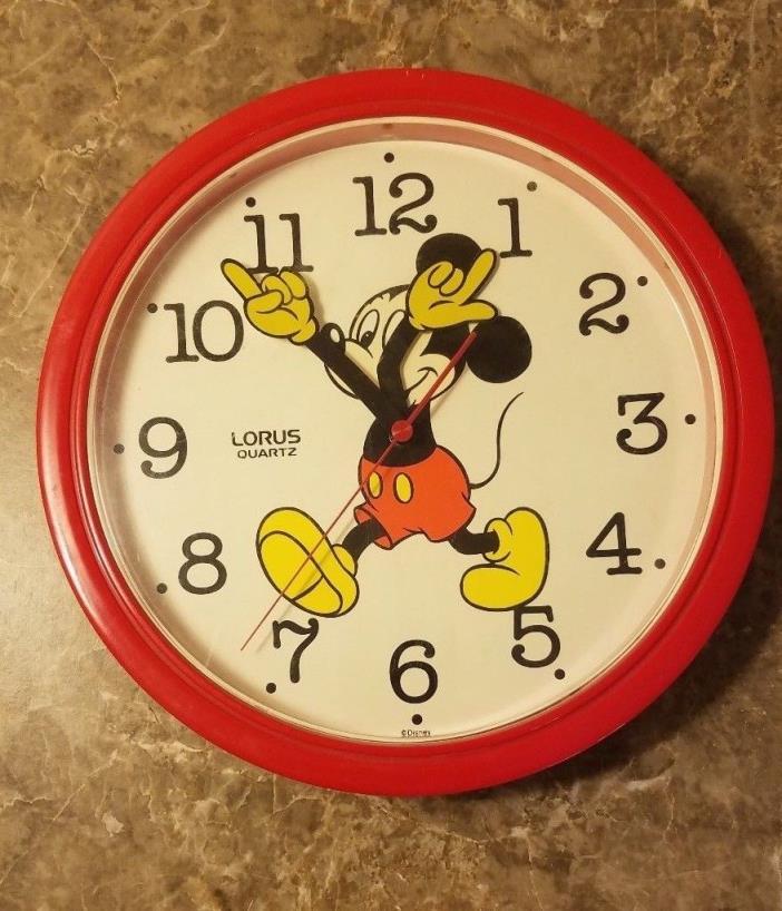Vintage Rare Mickey Mouse Lorus Quartz Travel Alarm Clock RED