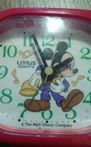Mickey Mouse Disney Lorus Quartz Alarm Travel Clock RED Plastic Not working part