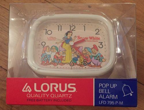 Lorus Disney Snow White Quartz Alarm Clock New