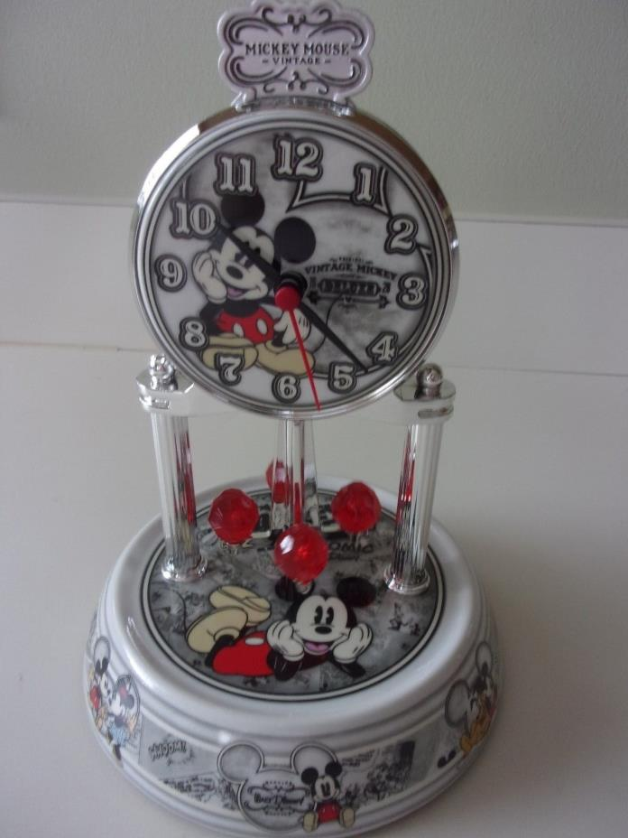 Disney Vintage Mickey Mouse Anniversary Mantle Clock Glass Dome