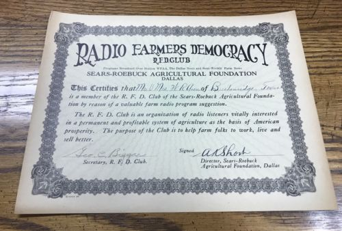 Vintage Radio Farmers Democracy Club Sears-Roebuck Ag Foundation Certificate