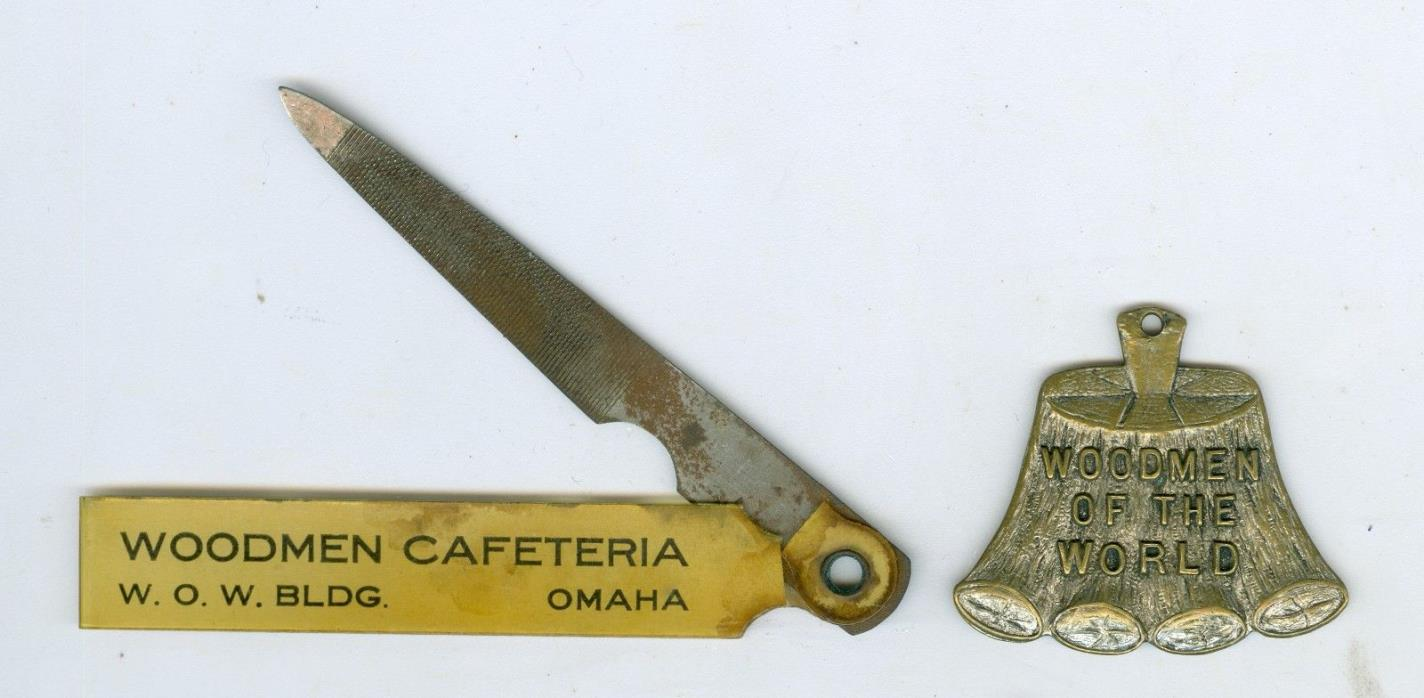 2 Woodmen of the World WOW Omaha, Nebraska Cafeteria Nail File & Medal
