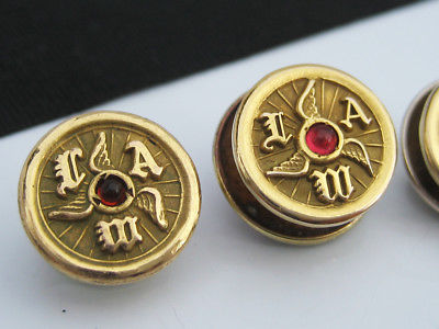 Antique Fraternal IAM Wing Propellor 14K Gold GF Gemstone Lapel Tie Pin Buttons