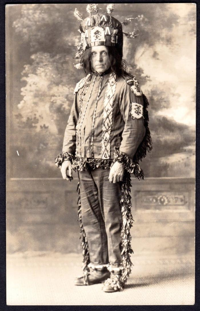 c.1907 IMPROVED ORDER OF RED MEN CHIEF WITH HEADDRESS ~ I.O.R.M.~SONS OF LIBERTY