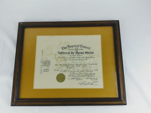 Framed Nobles Of The Mystic Shriners Member Certificate~ Tampa, Florida 1981