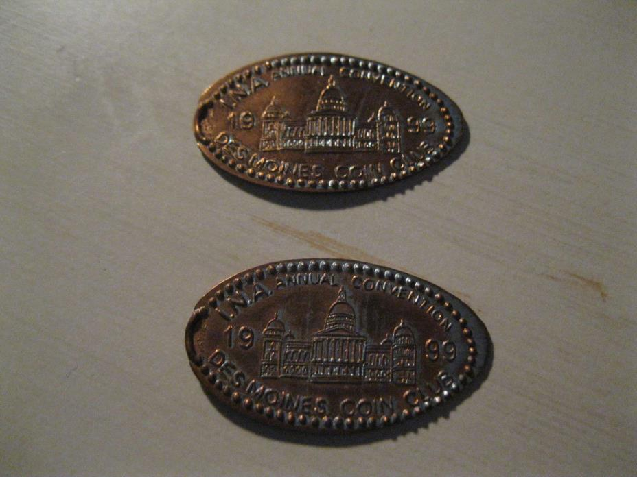 2 Flatten pennies INA annual convention Des Moines Iowa coin club 1999