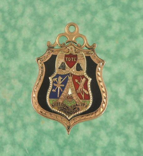 Order of Red Men Watch Fob Gold Filled + Enamel 1920s lot w248