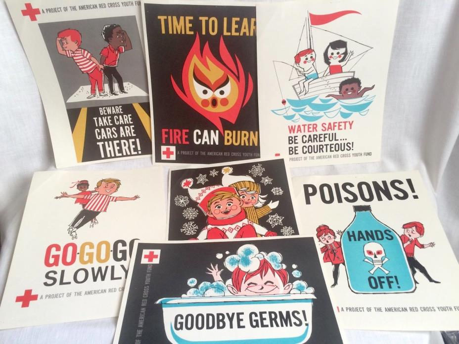 1967 American Red Cross Youth Fund Know the Way to Play Safe 7 Poster Set