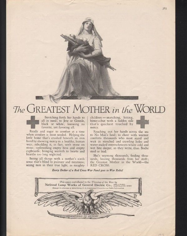 1918 RED CROSS WWI WAR NURSE MEDICAL HEALTH MILITARY HISTORY GE AD 22654