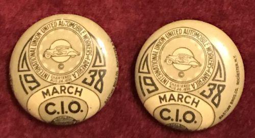 LQQK ?? PAIR 1938 MARCH UAW PINS €RROR UNION UNITED Auto AUTOMOBILE WORKER error