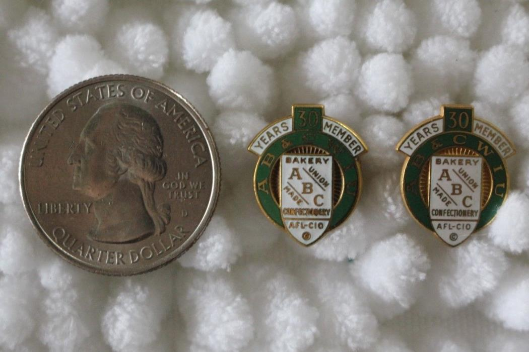 Lot of 2 AB&CWIU Bakery Confectionery Union 30 Year Member Pins Pinbacks #23947