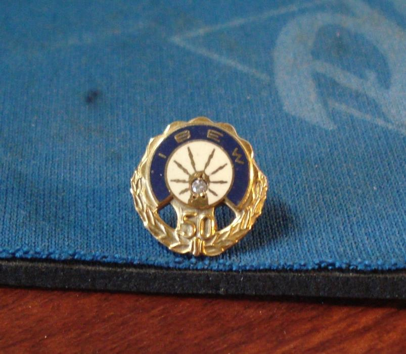 50 Year Service IBEW Electrical Workers Diamond and 10K GF Lapel pin/ Tie Tack