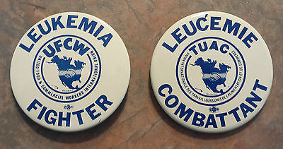 UFCW 2 Leukemia Fighter Leucemie Combattant Metal Trade Union Pinback 1980s CDN
