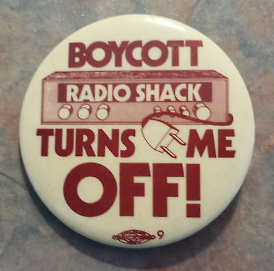 Boycott Radio Shack Turn It Off Trade Union Boycott 1980s Pinback Button