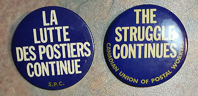 CUPW Postal Workers Canada Post Trade Union Strike Pinback Buttons 1980s
