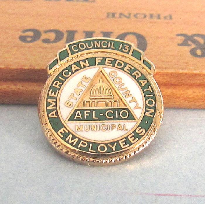 AFL-CIO Enamel PIN American Federation Employees Council 13 Gold Tone Vintage