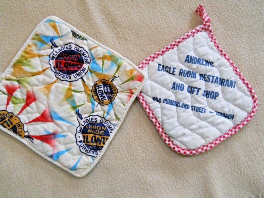 2 Vintage Advertising Pot Holders/Ladies Garment Workers Union/Restaurant (521)