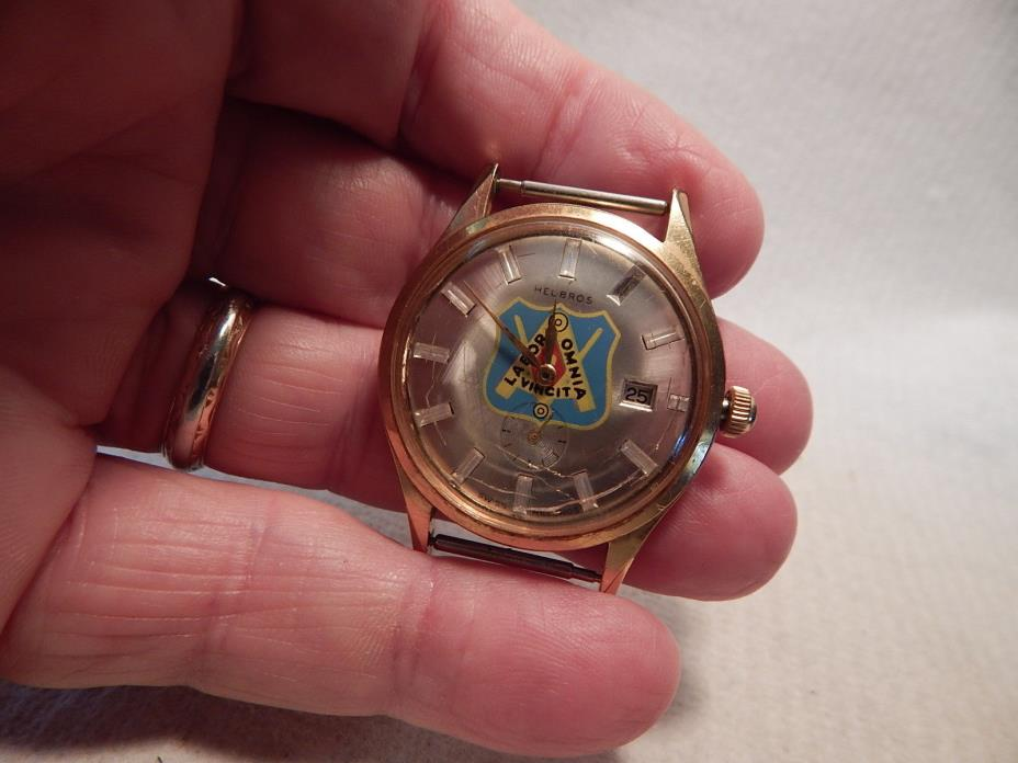 VTG 1960S HELBROS MENS WRISTWATCH LABORERS UNION LOGO LABOR OMNIA VINCIT